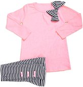 SODIAL(R) Girls clothes sets Bow Tops+ Stripe Pants 2pcs clothing children active suits cotton kids wear 4T(120CM)