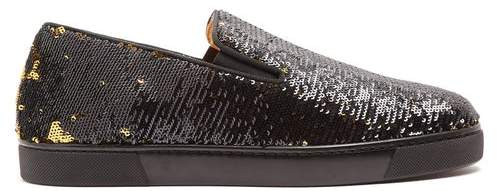 newest d6582 f2a6d Boat Sequin Embellished Slip On Trainers - Womens - Black Gold