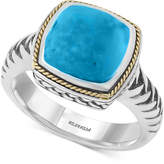 Effy Turquesa by Manufactured Turquoise Statement Ring (4-3/8 ct. t.w.) in Sterling Silver and 18k Gold