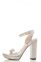 Quiz Silver Metallic Diamante Heel Sandals