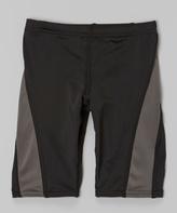Kanu Surf Black & Gray Competition Jammer Swim Shorts - Boys