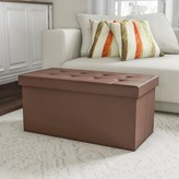 Folding Storage Bench OttomanA?30A? Faux Brown Leather-Foam Padded Lid-Removable Bin-Organizer for Home, Bedroom, Living Room & Kid Toys by Lavish Home