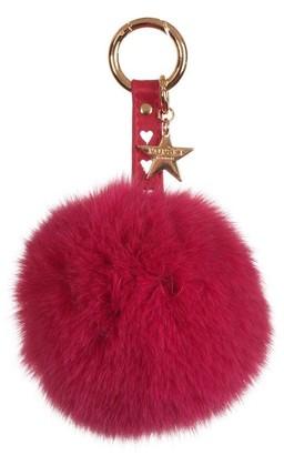 Popski London Heart Fox Fur Pom Pom Keyring - Hot Pink