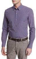 Ermenegildo Zegna Jacquard-Check Long-Sleeve Sport Shirt, Navy