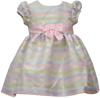 Bonnie Jean Baby Girl Striped Jacquard Dress with Cap Sleeves and Waist Bow