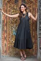 Sleeveless Midi Cotton Dress from Bali, 'Cool in Black'