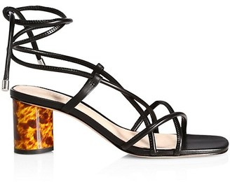 Schutz Tattih Ankle-Wrap Leather Sandals