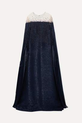 Oscar de la Renta Cape-effect Fringed Silk-blend Lame And Embellished Tulle Gown - Navy