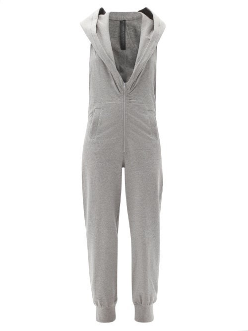 Thumbnail for your product : Norma Kamali Open-back Hooded Cotton-blend Jersey Jumpsuit - Light Grey