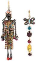Betsey Johnson Two-Tone Multi-Stone Skeleton & Bow Mismatch Earrings