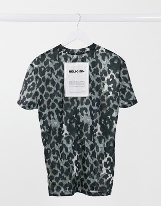 Religion oversized t-shirt in animal print