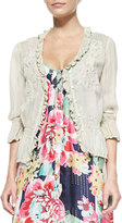 Johnny Was 3/4-Sleeve Georgette Pintuck Cardigan, Plus Size