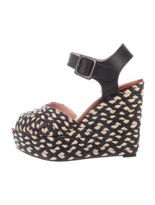 Clergerie Woven Wedge Sandals w/ Tags Black
