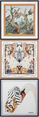 Burberry Animal Print Logo Silk Twill Scarf