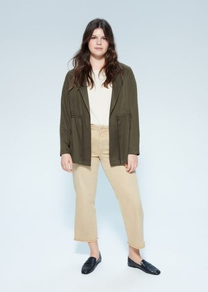MANGO Violeta BY Belt lyocell trench khaki - S - Plus sizes