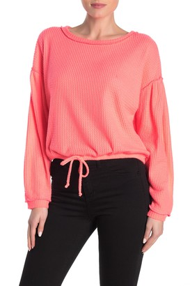 Socialite Front Tie Waffle Knit Sweater