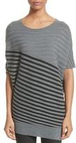 St. John Women's Stripe Wool Asymmetrical Sweater
