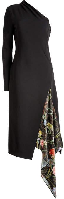 Off-White Asymmetric Dress with Printed Chiffon Insert