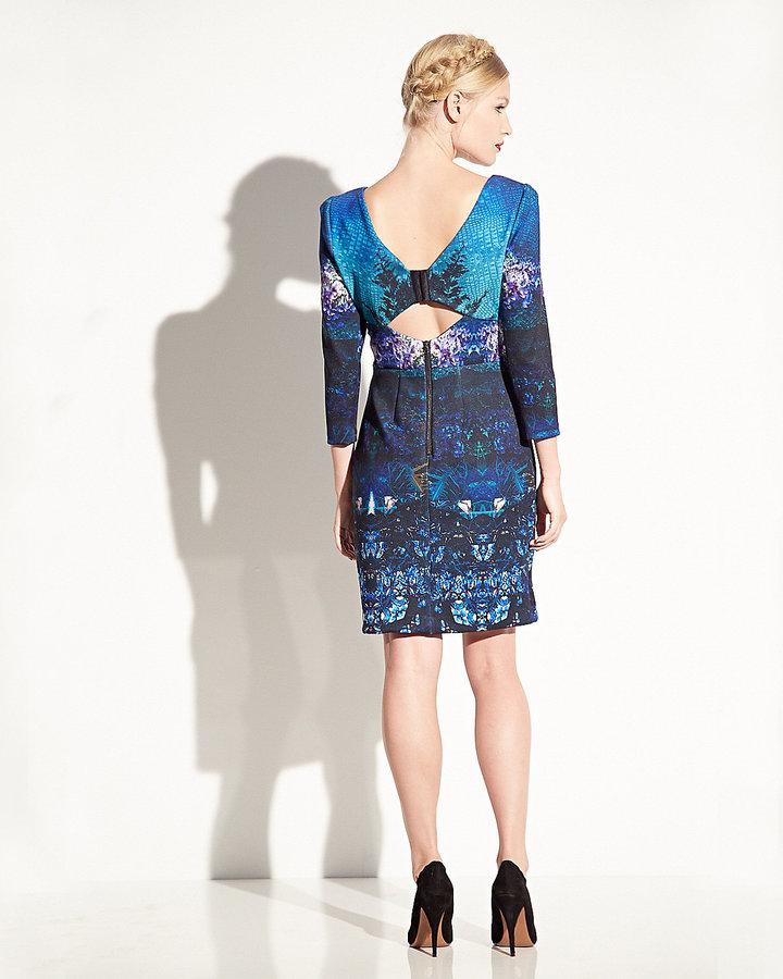 Betsey Johnson Digital Print Long Sleeve Dress