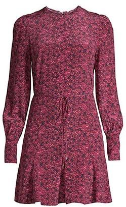 Rebecca Vallance Rosette Long-Sleeve Silk Dress