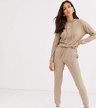New Look Tall lounge ribbed jogger two-piece in camel-Beige