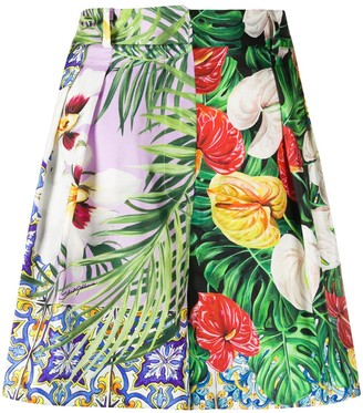 Dolce & Gabbana Multi-Pattern Pleated Shorts