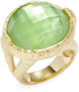 Rivka Friedman Women's 18K Gold Clad Ring with Rock Crystal & MOP