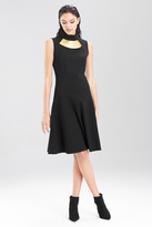 Josie Natori Double Knit Jersey Turtle Neck Dress
