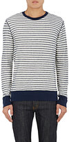 Barneys New York MEN'S STRIPED COTTON LONG-SLEEVE T-SHIRT-IVORY SIZE S