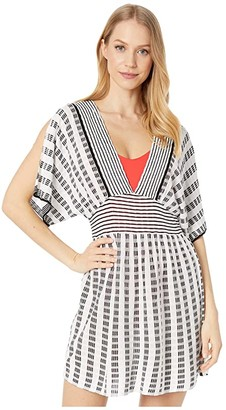 Trina Turk Stripe Covers Split Sleeve Tunic Cover-Up (Black) Women's Swimwear