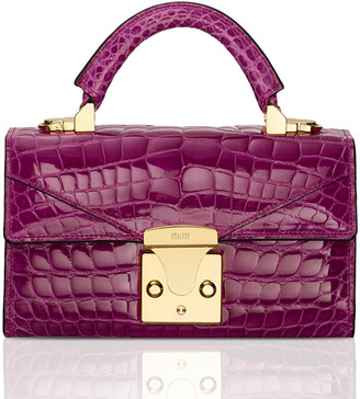 Stalvey Glossy Crocodile Mini Top-Handle Bag, Pink