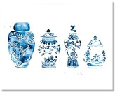 The Well Appointed House Watercolor Blue & White Ginger Jars Art Print