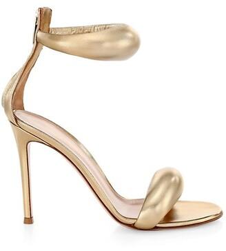 Gianvito Rossi Bijoux Ankle-Strap Metallic Leather Sandals
