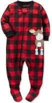 Carter's 1-Pc. Buffalo Check-Print Moose Footed Pajamas, Baby Boys (0-24 months)
