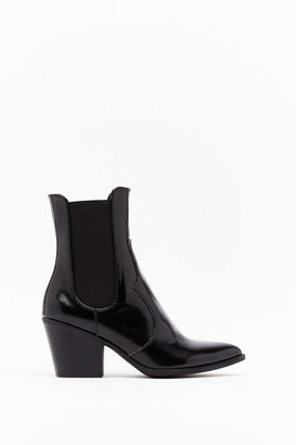 Nasty Gal Womens Go Western Patent Faux Leather Boots - Black