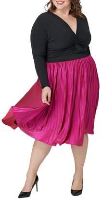Maree Pour Toi Metallic Pleated Skirt (Plus Size)
