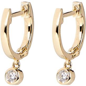 Ef Collection Diamond Drop Huggie Earrings
