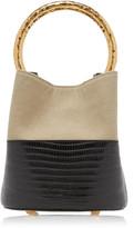 Marni Pannier Lizard-Effect Leather-Paneled Canvas Bucket Bag