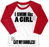 Micro Me White & Red 'Swim Like A Girl' Raglan Tee - Toddler & Girls