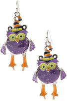 Carole Purple & Orange Owl Drop Earrings