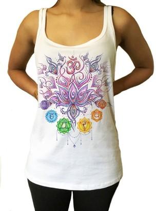 Irony Jersey Tank Aztec Flower Buddha Chakra Symbols Sketch Effect Print JTK944 (Medium)
