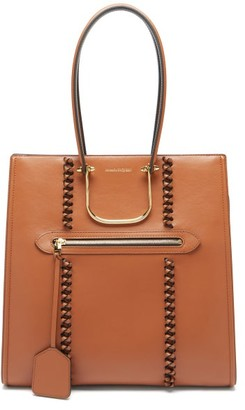 Alexander McQueen The Tall Story Whipstitched Leather Tote Bag - Tan