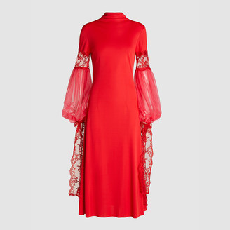 Christopher Kane Red Lace and Tulle-Trimmed Crepe Midi Dress IT 42