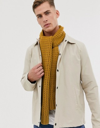 ASOS DESIGN knitted scarf in mustard