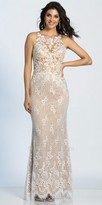 Dave and Johnny Scalloped Lace Keyhole Open Back Illusion Prom Dress