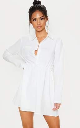 PrettyLittleThing White Pocket Front Elastic Waist Shirt Dress