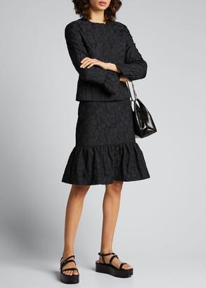 Akris Punto Magnolia Cloque Flounce Skirt