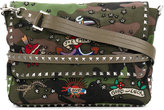 Valentino Piccola messenger bag - men - Cotton/Leather/Brass - One Size
