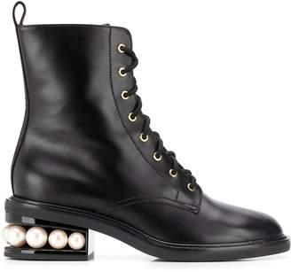 Nicholas Kirkwood Casati 35 faux pearl heel boots