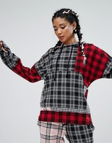 Jaded London Oversized Hoodie In Patchwork Check Co-Ord